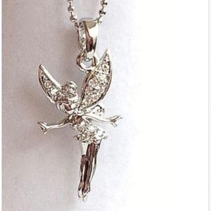 TinkerBell Necklace Crystal Fairy Disney Silver